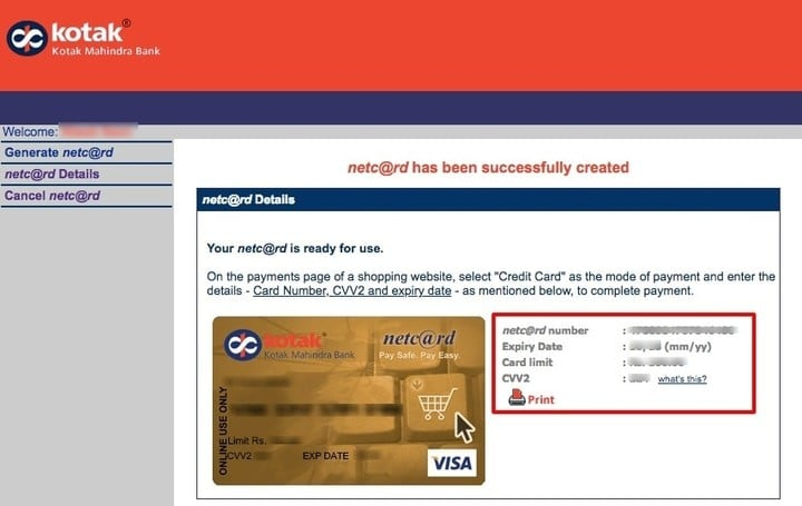 Create Unlimited Virtual Credit Cards (VCC) Using Kotak Mahindra Bank