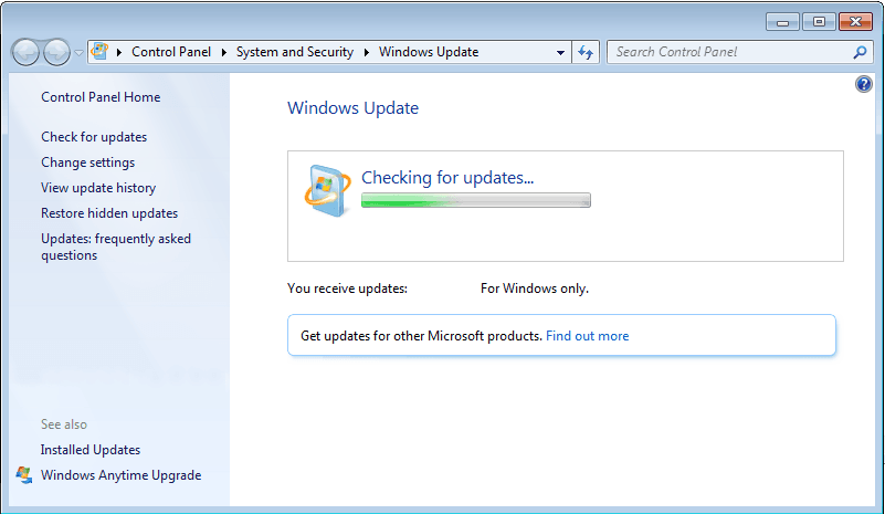 Windows 7 Checking For Updates