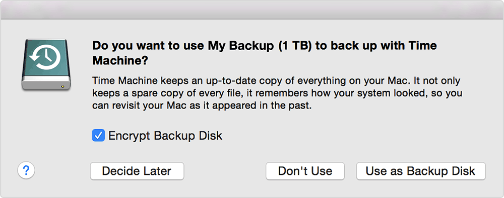 New Time Machine Backup